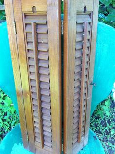 Vintage Wooden Louvered Shutters / Decorative by ...