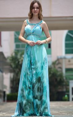 Blue Jewel Empire Printed Celebrity Prom Ball Gown Long Evening Dress