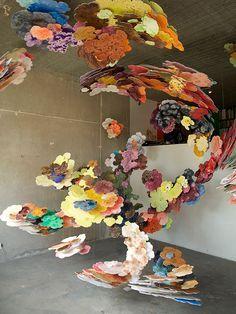 Installation & Sculpture   Suspended Cloud Paintings by Joris Kuipers