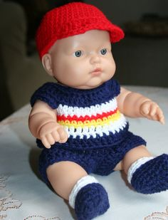 Crochet Doll Clothes - Cycling clothes!!!!!