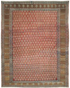 "BAKSHAISH CAMELHAIR, Northwest Persian, 9ft 8in x 12ft 1in, Circa 1875.  Newcomers and experience clients come to us to find antique rugs of unforgettable artistic impact. The best Bakshaish carpets, such as this deceptively elemental piece, offer an energetic, entirely unaffected composition. Here a field of ""dancing"" boteh and a sparsely decorated undyed camel's hair border reflect an unfettered inspiration highly priced by collectors."