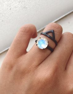 9mm Stunning Rainbow Moonstone Ring - Engagement Ring - Recycled Silver Ring, Oxidized Silver Ring