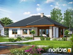 Dom pod jarząbem 15 (T) Single Storey House Plans, Small House Plans, House Floor Plans, Modern Bungalow House, House Plans 3 Bedroom, Roof Design, Story House, Facade House, House Layouts