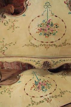 Painted bed via Vintage Home