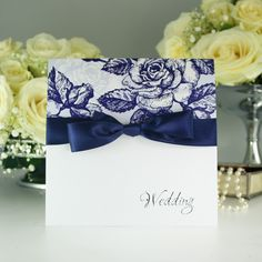 Vintage Rose Blue Wedding Invitation