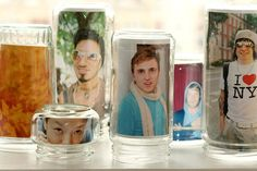 Photo Jars: Picture frames come in all shapes and sizes, so why not convert your jars into frames? Just add your favorite photo, turn it upside down, and voilà! Source: Photojojo