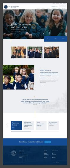 Website design for a Catholic school. #webdesign #design #ui #website #interface #ux #interaction #development #marketing #uxdesign #uidesign #landingpage #behance #dribbble #art #college #education #school #university Web Design, Prep School, Catholic School, Sacred Heart, Marketing, Design Inspiration, Faith, Community, Student