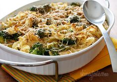 Chicken and Broccoli Noodle Casserole Recipe Main Dishes with noodles, oil, garlic, broccoli florets, butter, shallots, all-purpose flour, fat-free chicken broth, 1% low-fat milk, chicken breasts, cheddar cheese, cooking spray, shredded parmesan cheese, seasoned bread crumbs