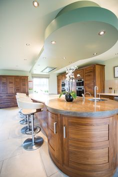 Exquisite attention to detail with individual features such as these curved cupboards