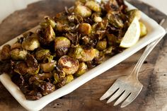 Crispy Lemon Roasted Brussels Sprouts - sometimes veggies don't need a lot of dressing to be yummy