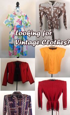 Looking for vintage clothes and fashions at good prices?  Come visit the store.  We have a wide selection of vintage fashions from tops and blouses to skirts and dresses.  You are sure to find something that will appeal to your style.  Don't be shy.... Stop by!