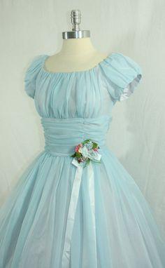 dreamy blue bridesmaid dress I am getting inspiration for 25 wedding anniversary renewal Fashion Moda, 1950s Fashion, Vintage Fashion, Blue Fashion, Dress Fashion, Fashion Women, 50s Dresses, Pretty Dresses, Beautiful Dresses