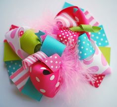 boutique LILY PAD FUNKY fun hair bow clip.