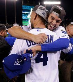Alex Gordon, Eric Hosmer, KC: the Royals win the AL Central, Sept 2015
