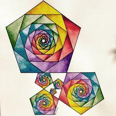 Geometric Drawing, Geometric Shapes, Sacred Geometry Art, Fractal Geometry, Geometry Tattoo, Math Art, Art Graphique, Pentacle, Geometric Designs
