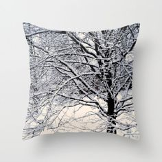 Decorative Pillow Cover, Throw Pillow, Home Decor, Winter, White, Black, Trees, Nature, Snow, Photo Pillow Cover, Made To Order