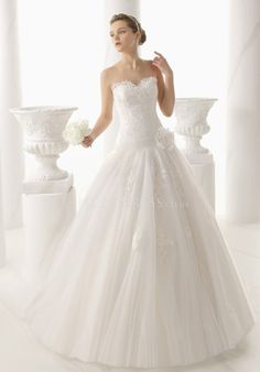 Dramatic Princess Sweetheart Tulle & Lace Sleeveless Floor Length Bridal Gown