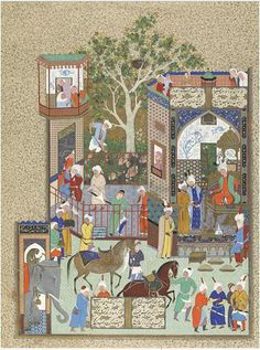 NUSHIRVAN RECEIVES AN EMBASSY FROM THE RAJA OF HIND Iran, Tabriz, Safavid period, ca. 1520s Opaque watercolor, ink, and gold on paper Lent by the Ebrahimi Family Collection