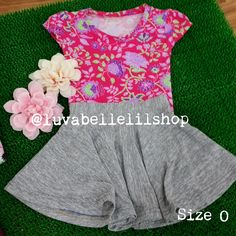 Grey Skater Skirt for Kids with Pink Flowery Top!