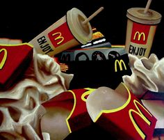 For Sale on - McDonald's Vanitas, Painting, Acrylic on Wood Panel, Acrylic Paint by Gerard Boersma. Offered by Zatista. Hyperrealism Paintings, Photorealism, Vanitas Paintings, Still Life Artists, Expressive Art, A Level Art, Contemporary Paintings, Small Paintings, Art Paintings