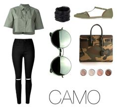 """""""#Camo"""" by pgha on Polyvore featuring moda, Equipment, Saachi, Yves Saint Laurent, Topshop, Terre Mère y Revo"""