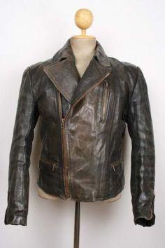 Vtg 1930s Aero German Horsehide Leather Motorcycle Jacket