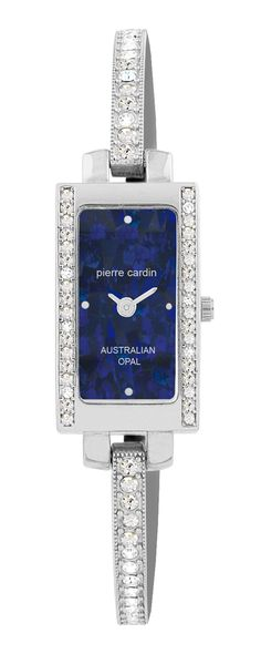 Ladies Silver Tone Stone Set Case & Bangle, featuring a predominantly Blue Mosaic Opal Dial $229.00 (BB4326) Blue Mosaic, Australian Opal, Pierre Cardin, Bangles, Watches, Stone, Silver, Jewelry, Wrist Watches