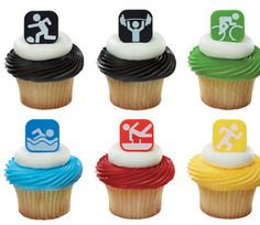 Olympics cupcake toppers, also cool for a sports themed party