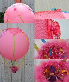 Hot Air Balloon by Helen Bird from Curly Birds... Although this craft only lasts a day, it is well worth doing – it provides HOURS of fun and is really quite magical. By using a really big balloon and adding a weight (or toy) to the basket you are able to control the balloon so it rises ever so slowly and always comes back down. Even a slight wind will make this balloon take off on an adventure…