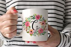 Personalised Floral Wreath Monogram Coffee Mug, Watercolor, Tea Cup, Ceramic Mug, Monogrammed Mug, Custom Initial Mug, Under 50,