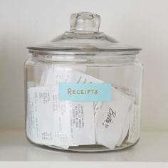 keep receipts organized in a cookie jar