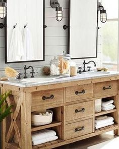 We thought these wooden drawers with a marbel counter-top was a great idea for a master bathroom. What do you think? Love it or Hate it? #DesignDebate