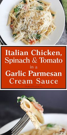 It's #FamilyPastaTime! Italian Chicken, Spinach & Tomato in a Garlic Parmesan Cream Sauce! This dish features penne pasta swimming in a garlic parmesan cream sauce laced with fresh spinach and diced tomatoes, then topped with an Italian seasoned, sautéed chicken breast. Sprinkle on some extra parmesan and you've got a dish that will wow everyone! Get the recipe! #ad