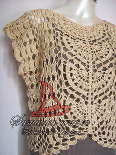 Mais uma blusa sob encomenda, é um modelo diferenciado desde a sua execução até o trabalhado da renda. Usei fio importado turco da Yarns Par...