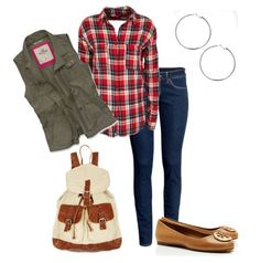 Cute Outfit Ideas of the Week: Pair a military style vest with a flannel, denim and of course...a super cute pair of shoes.