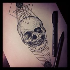 Las etiquetas más populares para esta imagen incluyen: geometric, graphic, skull, tattoo y andrey svetov