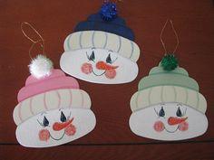 Snowmen face ornaments Christmas by loisling on Etsy, $3.75