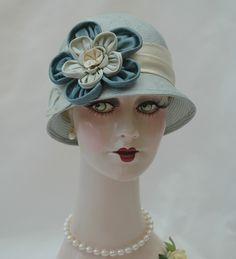 Ladies Straw 1920s Hat, Blue/Green Cloche, Handmade Flapper Hat.  via Etsy.