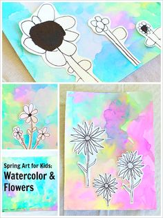 Flower Drawings on Watercolor Backgrounds (Spring Art Project for Kids)~ BuggyandBuddy.com