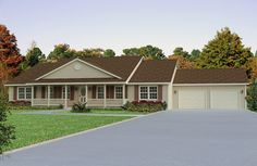 Covered Front Porch House Plans Ranch Style With Bungalow Diana Lichty Brown Roof Color Schemed