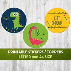 Dinosaur Party Printable Decoration, Dinosaur Toppers, Dinosaur Sticker, Dinosaur Party, Dino Party, Baby Stickers, Dino Baby Shower, Label by FancyZone on Etsy