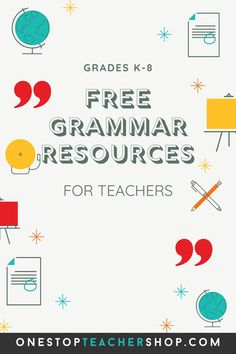 A collection of FREE Grammar Resources for teachers! These printable and digital Grammar Practice activities are perfect for daily review, language arts centers, distance learning, homework, morning work, and more! Be sure to download them all! Available for 1st Grade, 2nd, 3rd, 4th, 5th, 6th, 7th, and 8th. Grammar Games, Grammar Practice, Grammar Activities, Teaching Grammar, Teaching Writing, Grammar Review, Middle School Teachers, Word Study, Morning Work