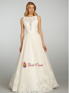 Scoop Appliques Chapel Train Tulle Ball Gown Wedding Dress