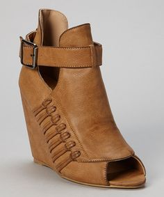 This Chase & Chloe Tan Buckle Amanda Peep-Toe Wedge by Chase & Chloe is perfect! #zulilyfinds