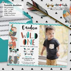 Wild one First Birthday Party Photo invitations - Printable DIY Invitation - Personalized Invite card DIY party printables will save you time and money while making your planning a snap!