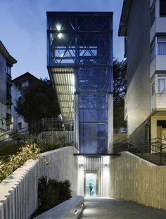 An outdoor elevator by Spanish architects Vaumm connects the mountainside neighbourhoods of a Spanish town to those in the valley.