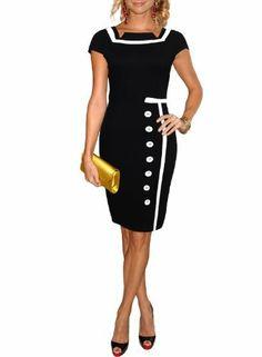 Miusol Damen Business Kleid Partykleid Marine Stil Pencilkleid Festkleid Größe.36-44 EUR 19,96