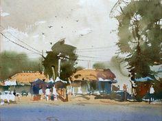 by Vijay Achrekar Watercolor Landscape, Watercolor And Ink, Watercolour Painting, Landscape Paintings, Watercolours, Watercolor Sketchbook, Art Station, Urban Sketching, Art Pictures