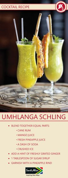 Recipe: The Umhlanga Schling Cocktail from The Oyster Box, Durban. Cocktail Menu, Cocktail Recipes, Cocktails, Drinks, South Afrika, Red Carnation, Canapes, Soul Food, Oysters