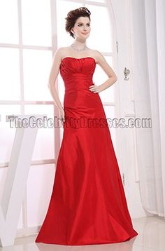 Simple Strapless Red Formal Dress Prom Dresses
